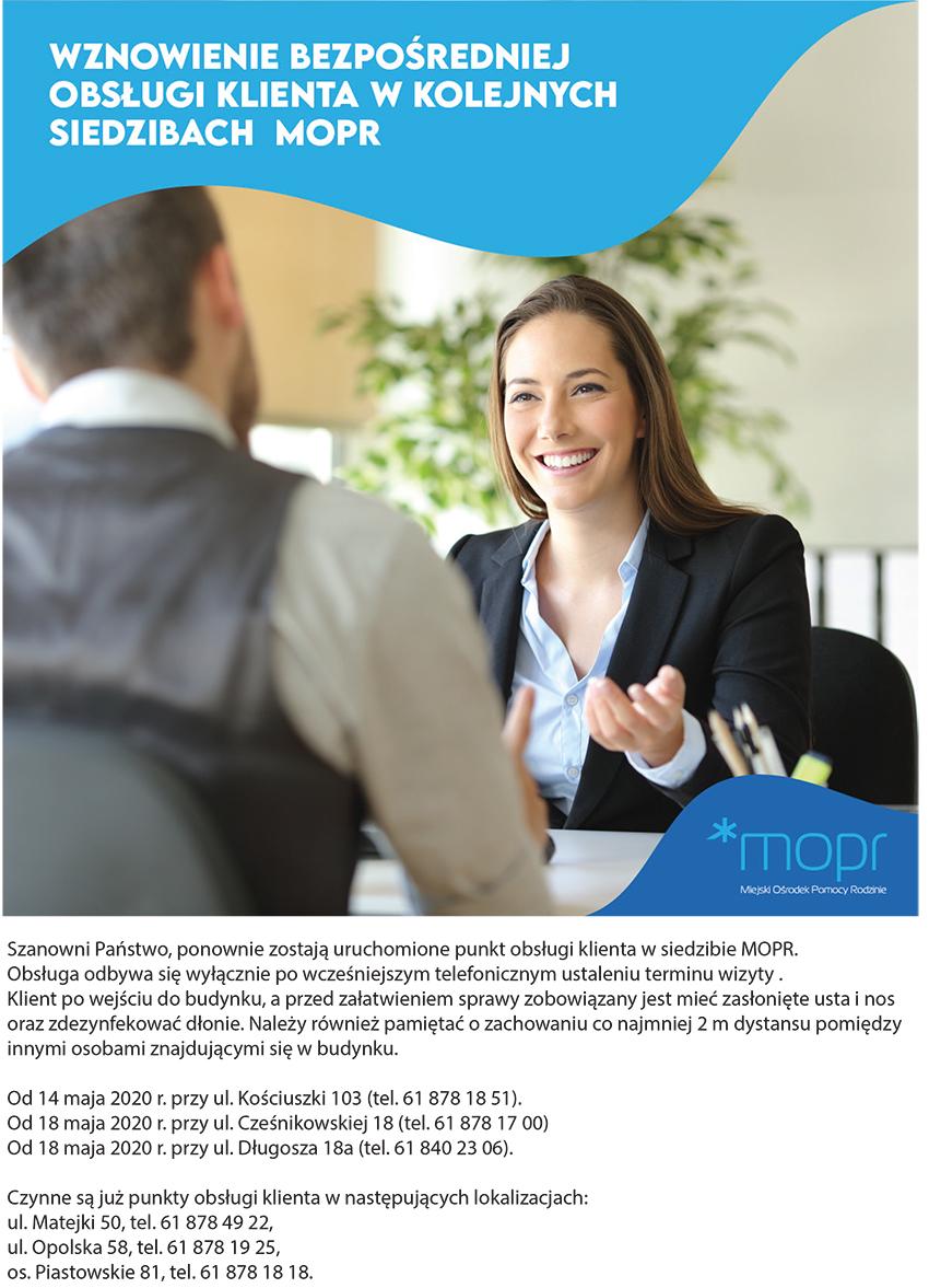 Plakat informacyjny o wznowieniu przjmowania klientów
