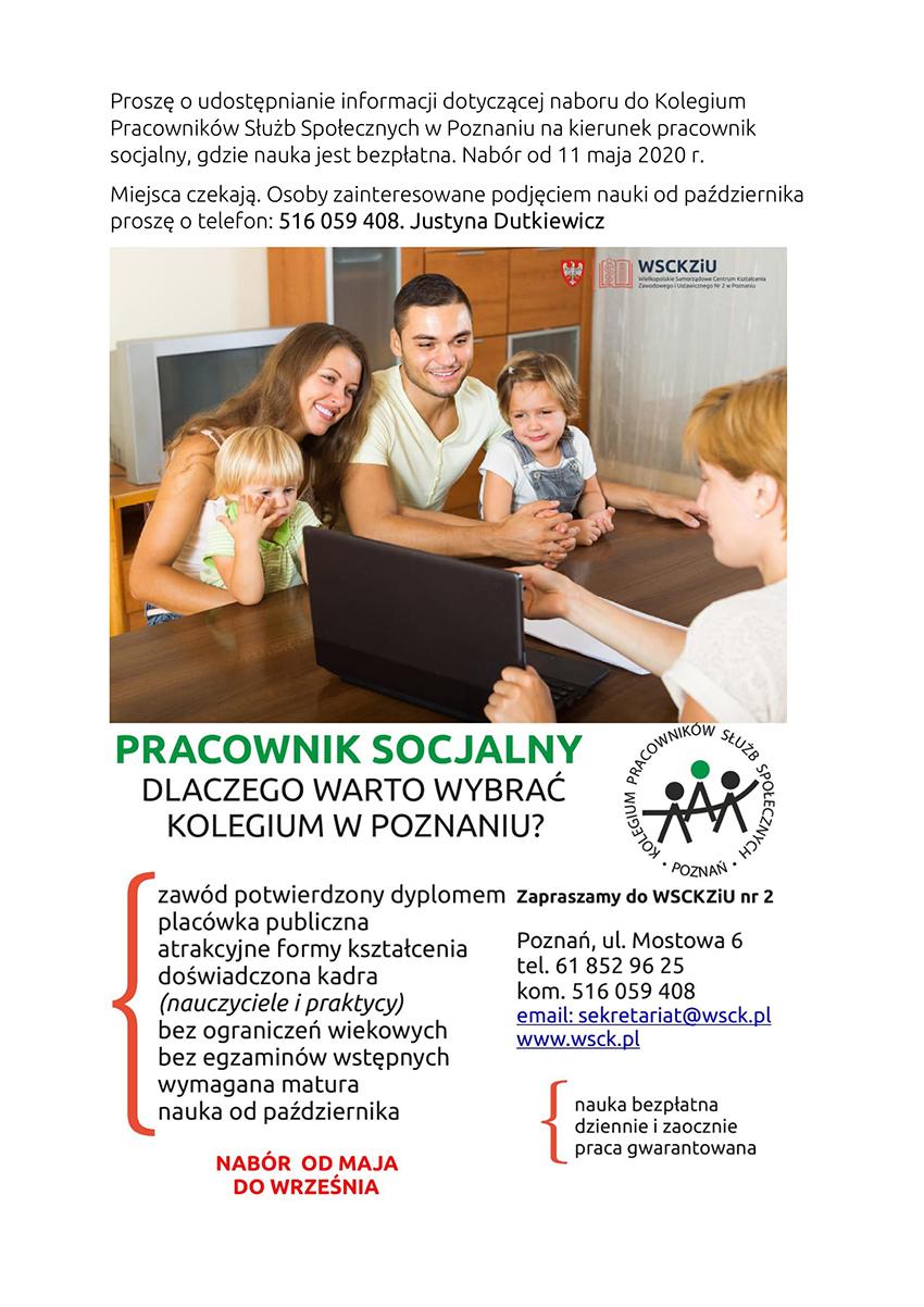 Plakat informacyjny o nauce w zawodzie pracownik socjalny