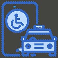 graficzny symbol taksówki i niepełnosprawnego