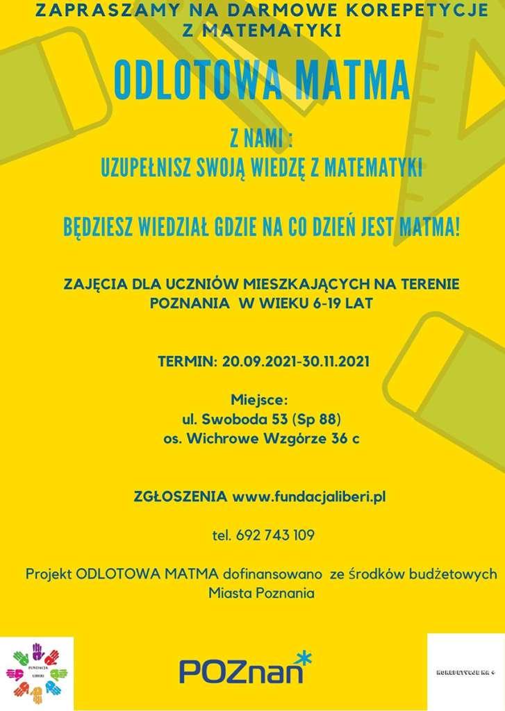 Plakat zaproszenie na darmowe korepetycje