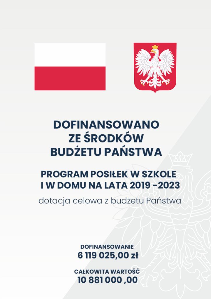 Plakat programu Program Posiłek w szkole i w domu na lata 2019 -2023